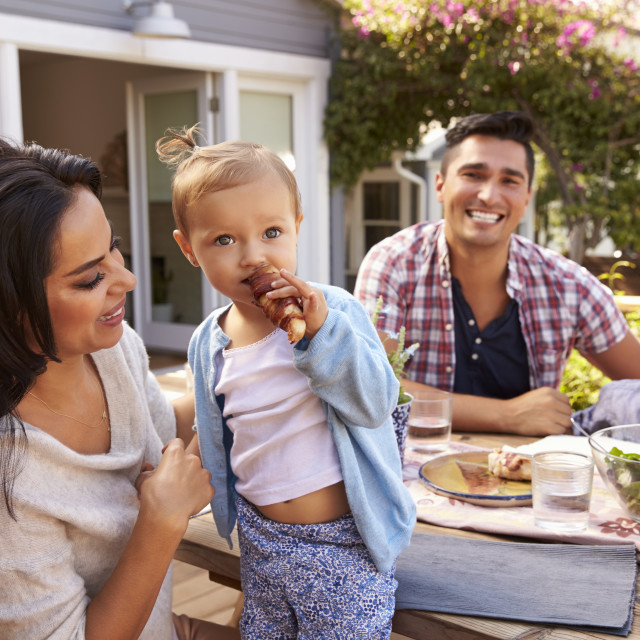 """""""Portrait Of Family At Home Eating Outdoor Meal In Garden"""" stock image"""