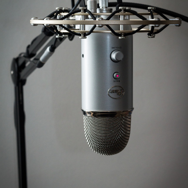 """A Blue Yeti Microphone with shock mount and boom"" stock image"