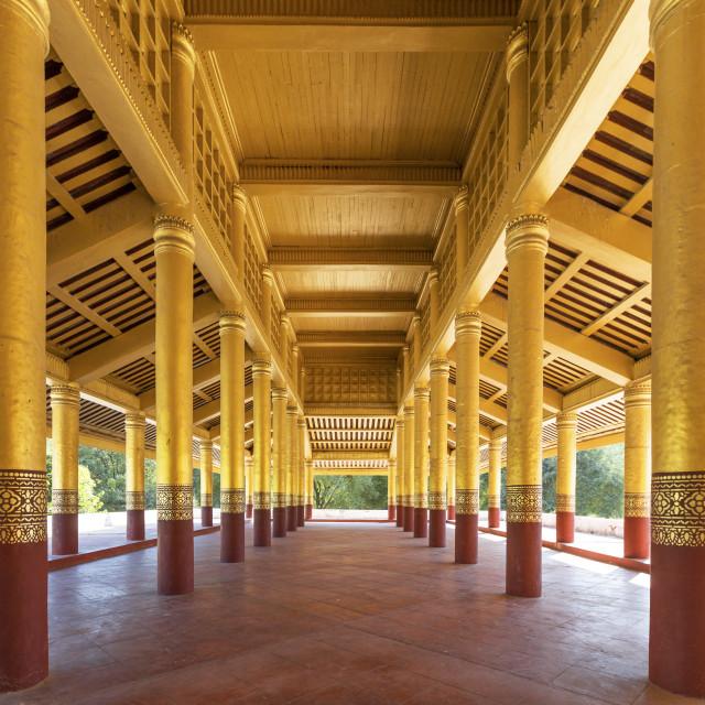 """Corridor in Mandalay Palace"" stock image"