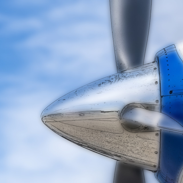 """Digital photo illustration: Close up of airplane cone and propel"" stock image"