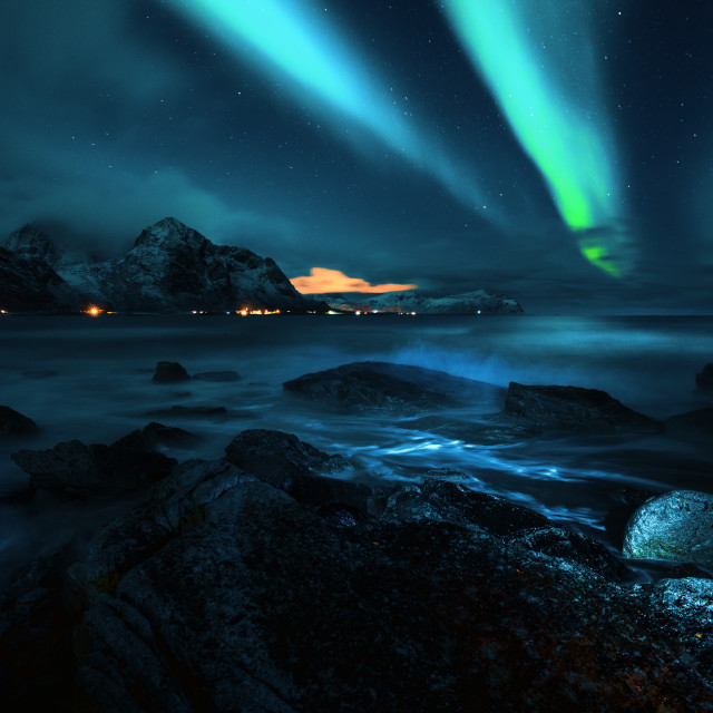"""Aurora over Lofoten"" stock image"