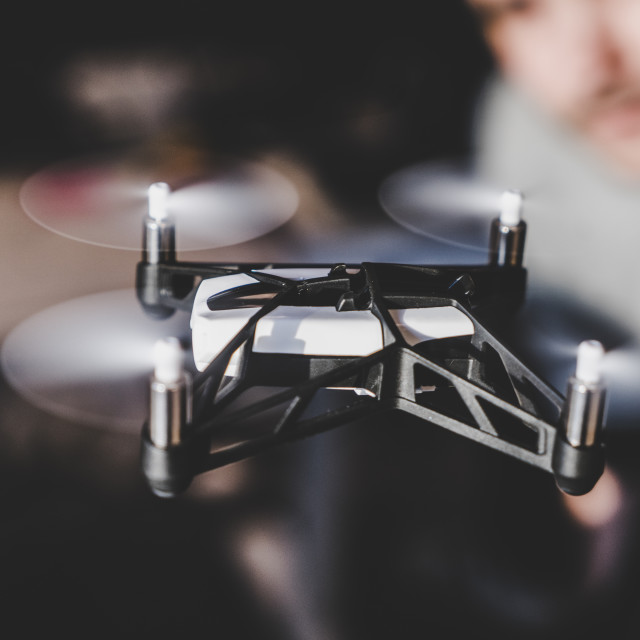 """Small Drone indoors"" stock image"