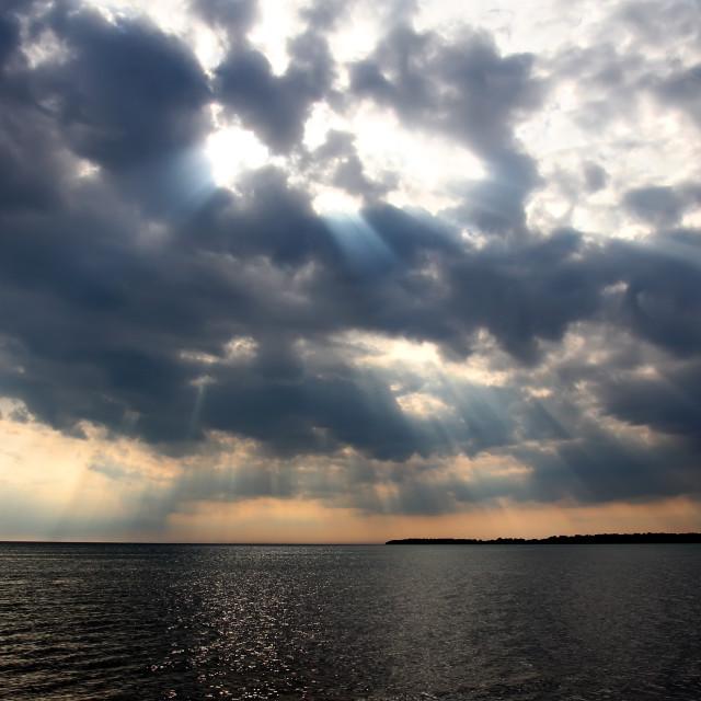 """Cloud and lake"" stock image"