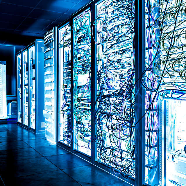 """Big datacenter with connected servers and internet cable infrast"" stock image"