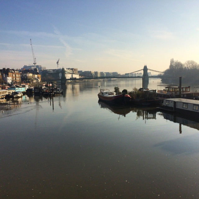 """Houseboats and Hammersmith Bridge"" stock image"