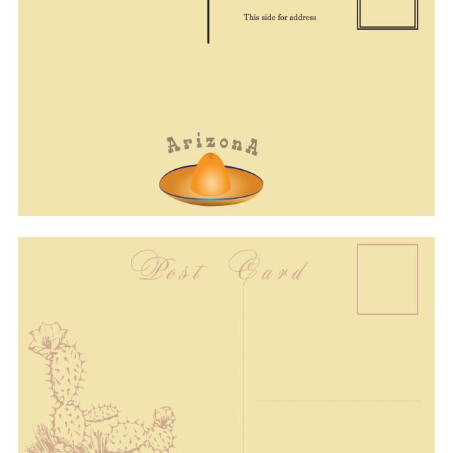 """Postal card for Arizona"" stock image"