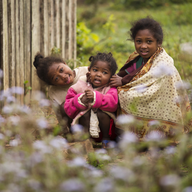 """""""ANDASIBE, MADAGASCAR - SEPTEMBER 26 Children playing on streets of village on..."""" stock image"""
