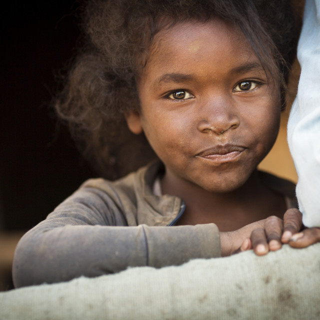 """ANTANANARIVO, MADAGASCAR - SEPTEMBER 26, 2016: Unidentified Madagascar child...."" stock image"