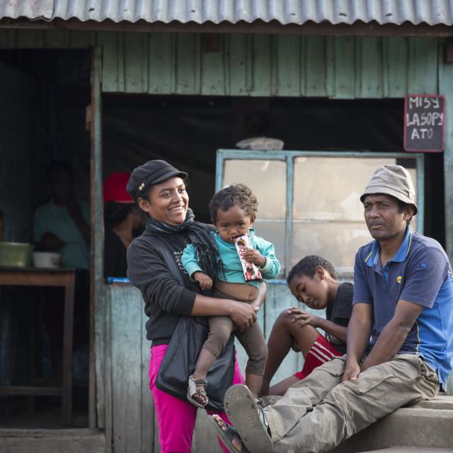 """""""ANTANANARIVO, MADAGASCAR - SEPTEMBER 26, 2016: Unidentified Madagascar people..."""" stock image"""