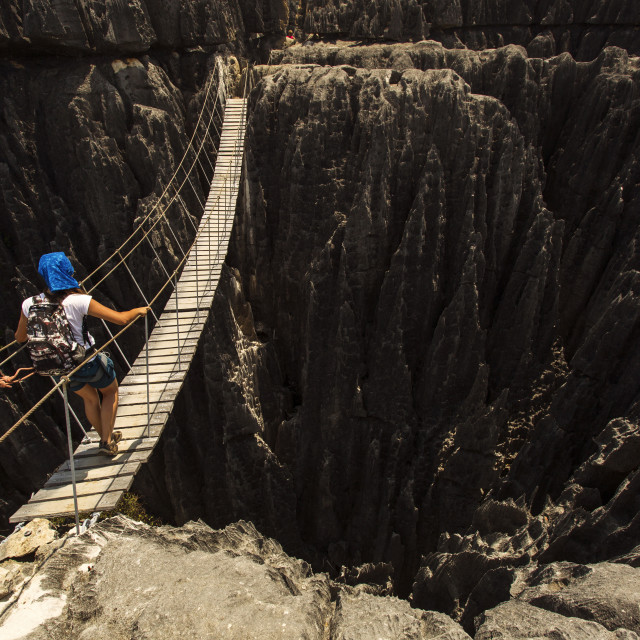 """Tsingy de Bemaraha National Park. Unesco World Heritage in Madagascar. Woman..."" stock image"