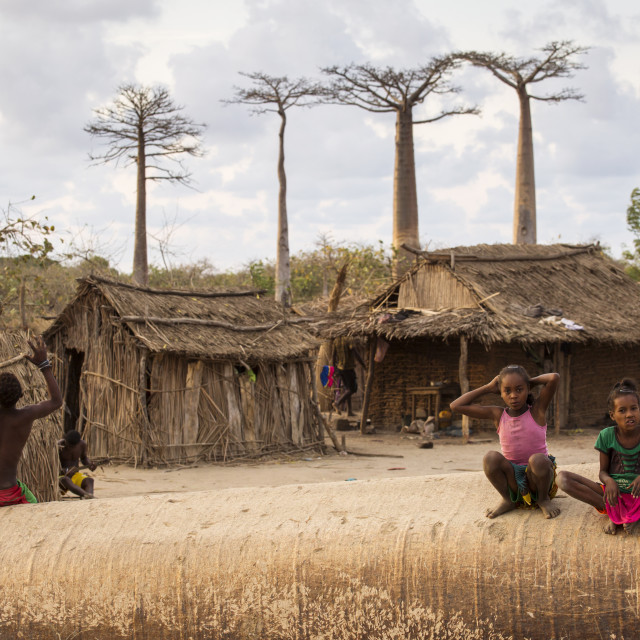 """""""MADAGASCAR, MORONDAVA - OCTOBER 3, 2016: Unknown children playing with joy..."""" stock image"""