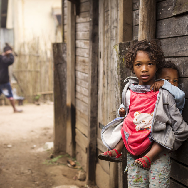 """""""ANDASIBE, MADAGASCAR - SEPTEMBER 25 Children playing on streets of village on..."""" stock image"""