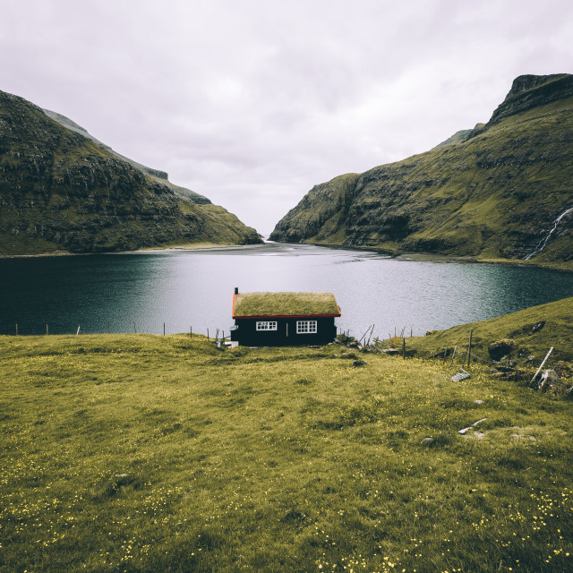 """Cottage on the Water"" stock image"