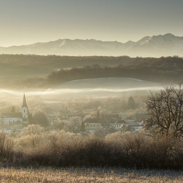 """Old village in Transylvania called Gherdeal, in the middle of Romania at sunrise"" stock image"