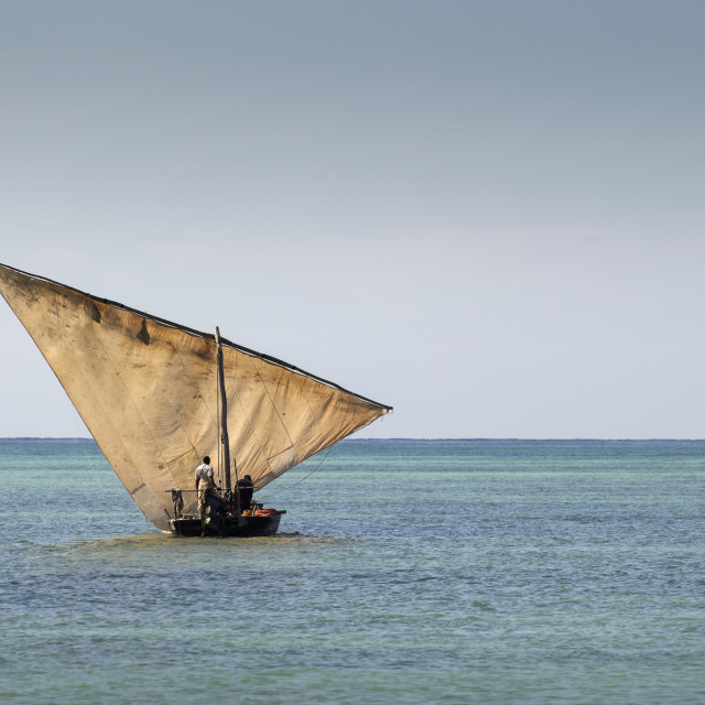 """Traditional Fisherman Dhow Boat during the day, Zanzibar, Tanzania."" stock image"