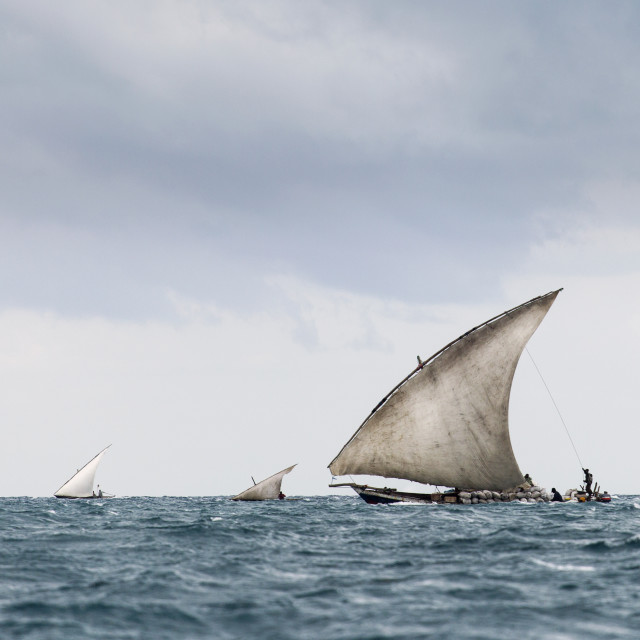"""""""Fisherman in Zanzibar going to fish in morning with storm clouds"""" stock image"""