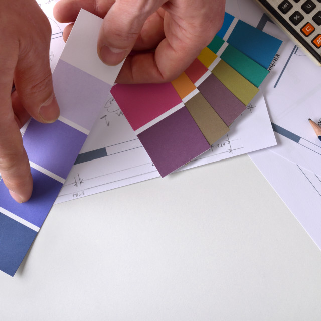 """""""Decorator showing a color tone on work table top view"""" stock image"""