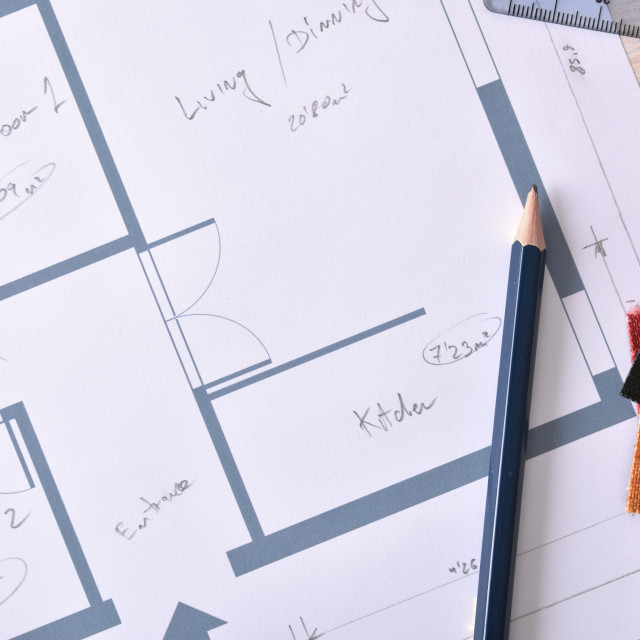 """""""Decorator workbench background with home plan on wooden table top"""" stock image"""