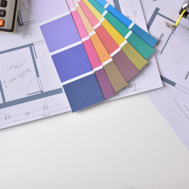 """""""Decorator workbench background with plan and tools top view"""" stock image"""