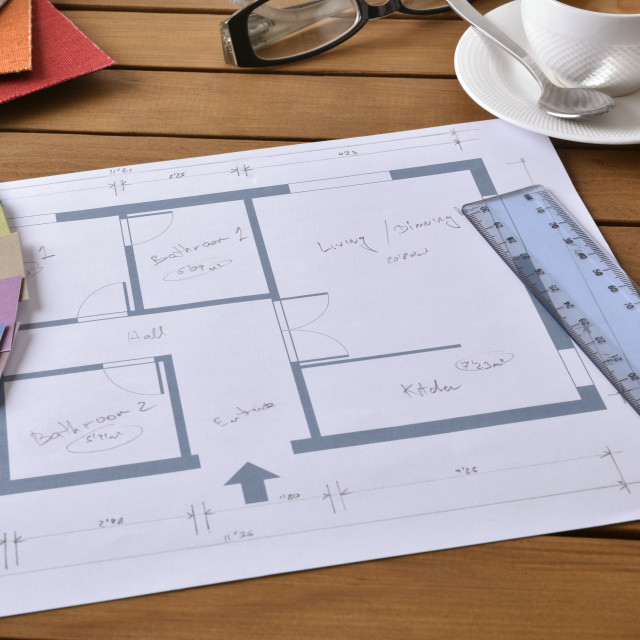 """""""Table with plan tools and samples of a decorator elevated"""" stock image"""