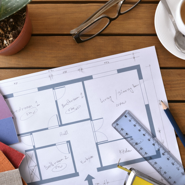 """""""Table with plan tools and samples of a decorator top"""" stock image"""