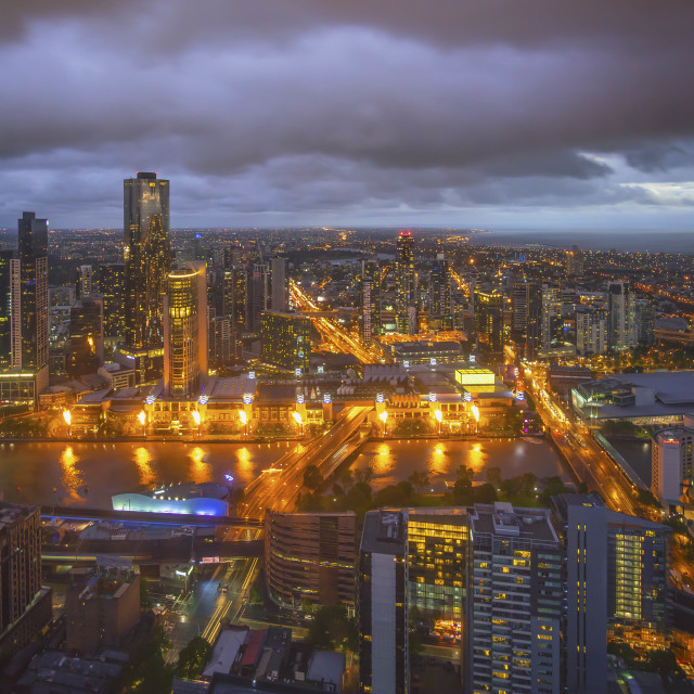 """""""An aerial view of Melbourne cityscape including Yarra River and"""" stock image"""