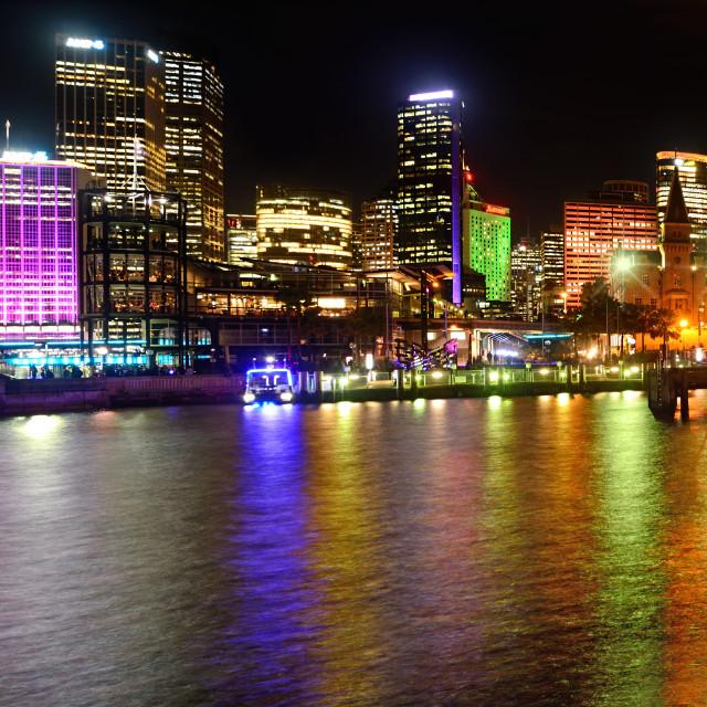 """""""Sydney Skyline by Kaye Menner"""" stock image"""