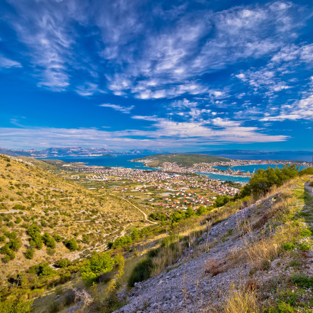"""Aerial panorama of Trogir and Kastela bay"" stock image"
