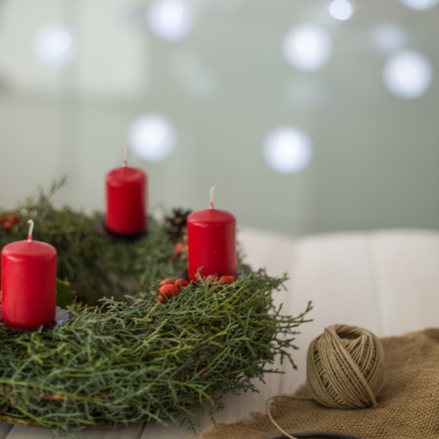"""Advent wreath with candles"" stock image"