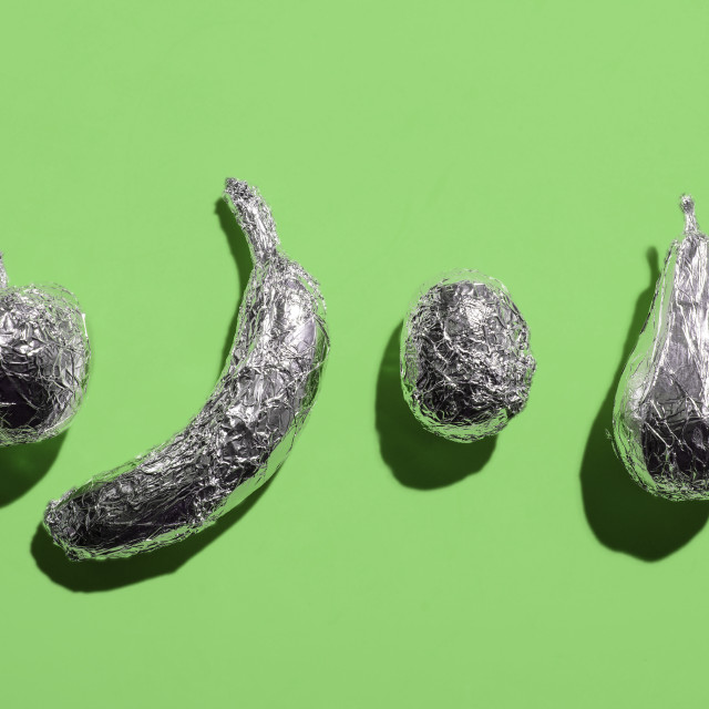 """""""Fruits wrapped in aluminium foil"""" stock image"""
