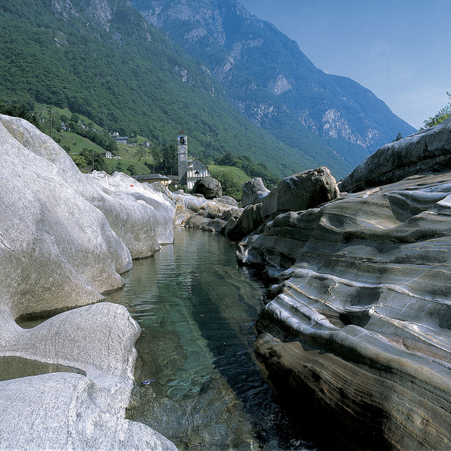 """Panorama shot Verzasca River at Lavertezzo"" stock image"