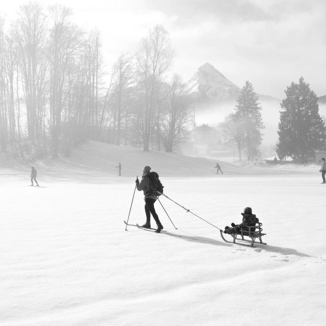 """""""Skiing over field"""" stock image"""