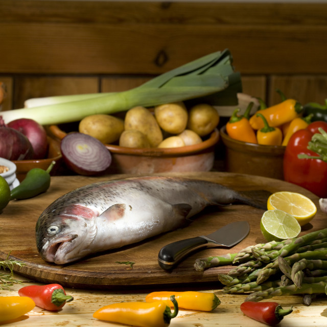 """trout with raw ingredients"" stock image"