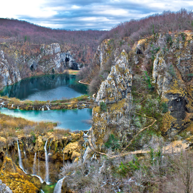 """Plitvice lakes canyon panoramic view"" stock image"