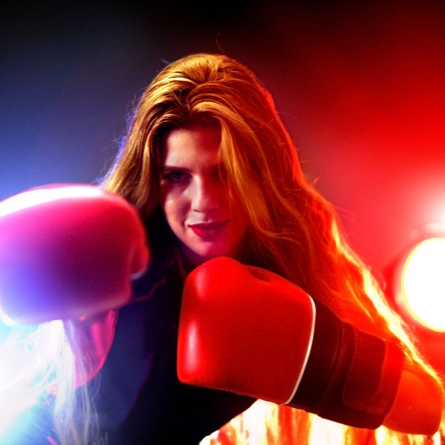 """Boxing women fitness exercises in gym. Sport workout on ring ."" stock image"