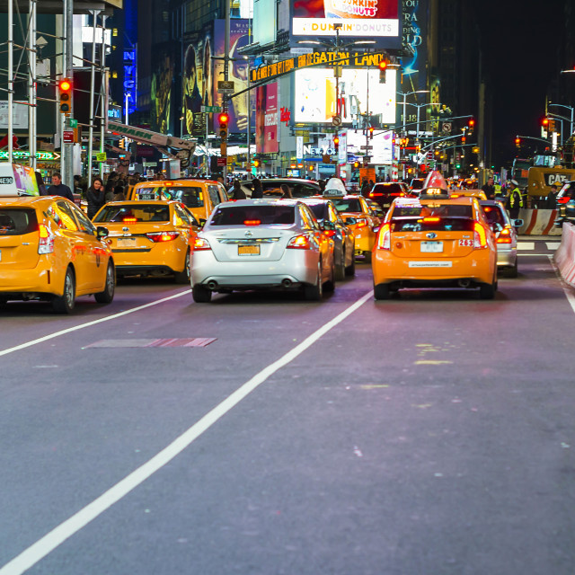 """""""Yellow cab in Times Square"""" stock image"""