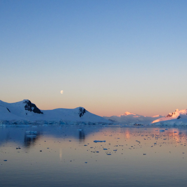 """Sunset over the Antarctic Peninsula"" stock image"