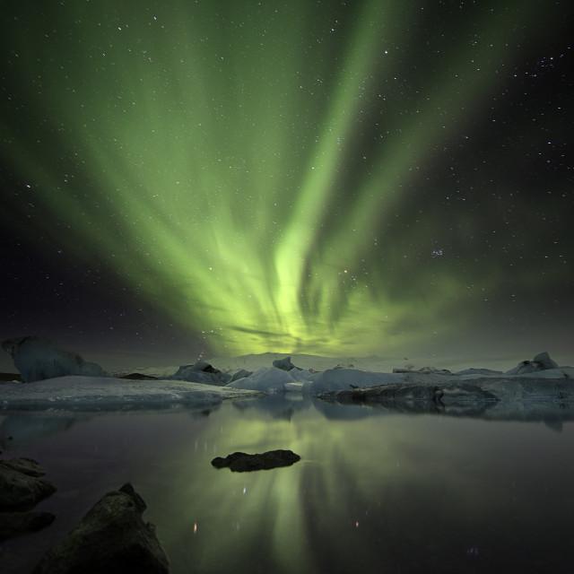 """""""Jokulsarlon Lagoon Aurora over Iceland"""" stock image"""