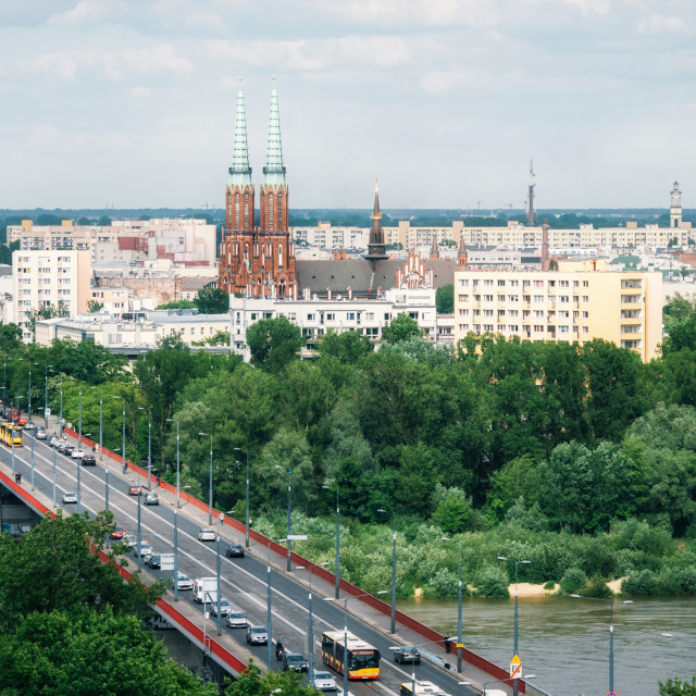 """Aerial view of Cityscape of Warsaw, Poland"" stock image"