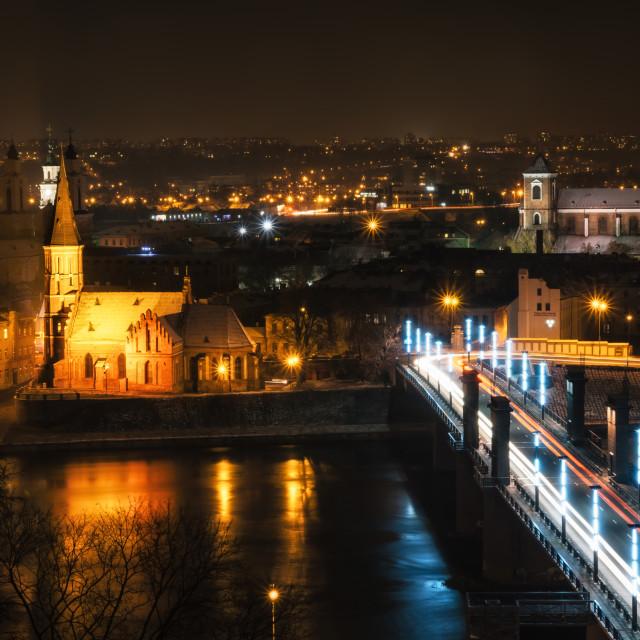 """""""View of Kaunas at night"""" stock image"""