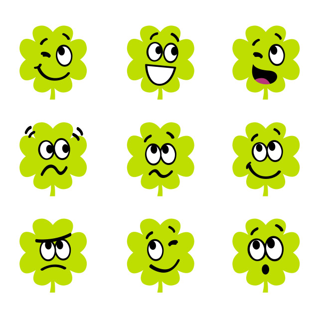 """""""Collection of funny four leaf clovers"""" stock image"""