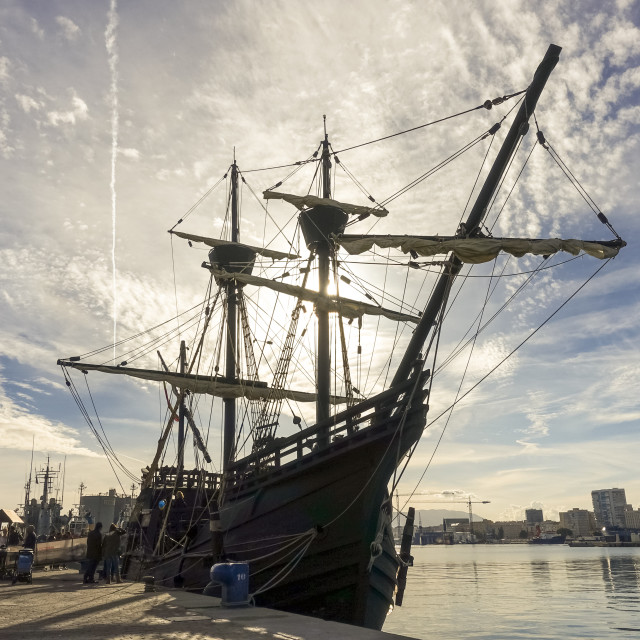 """Replica of old spanish galleon in Port of Malaga."" stock image"