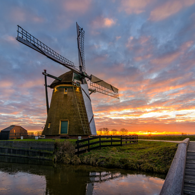 """Windmill Sunrise"" stock image"