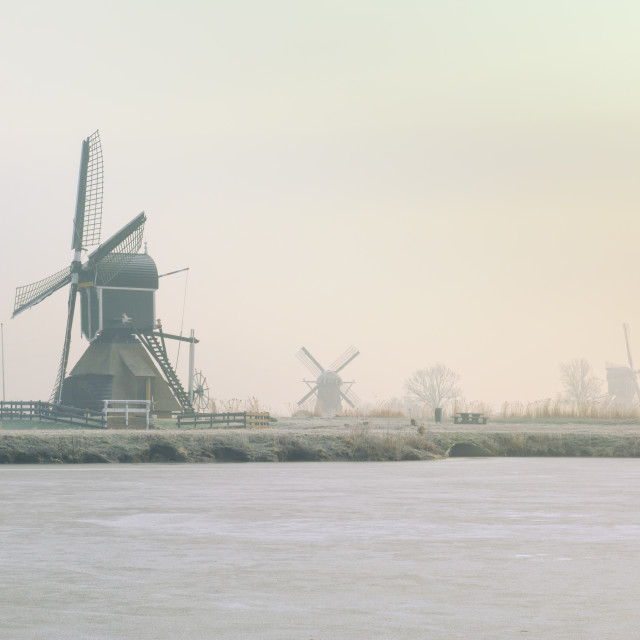 """Windmills in Winter"" stock image"