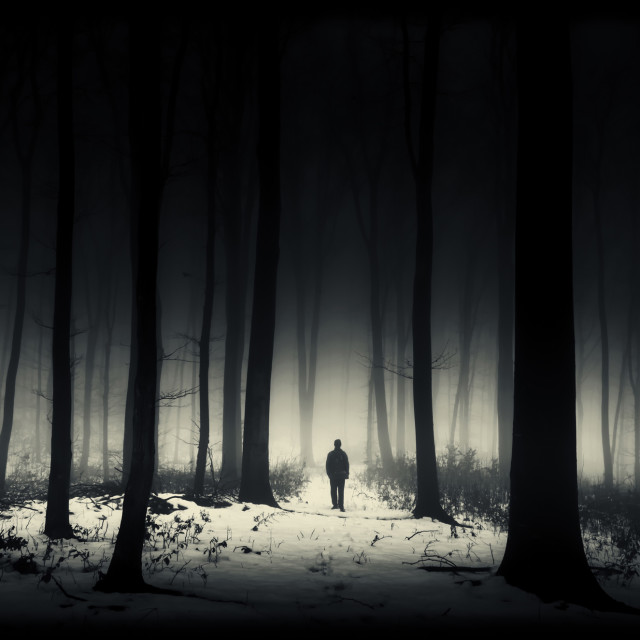 """Dark surreal landscape. Man silhouette in fantasy forest at night"" stock image"