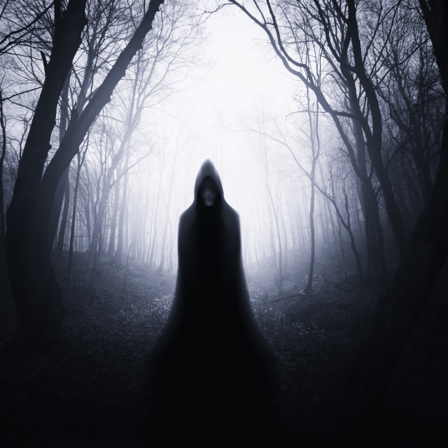 """Dark scary forest landscape with mysterious cloaked figure on Halloween night"" stock image"
