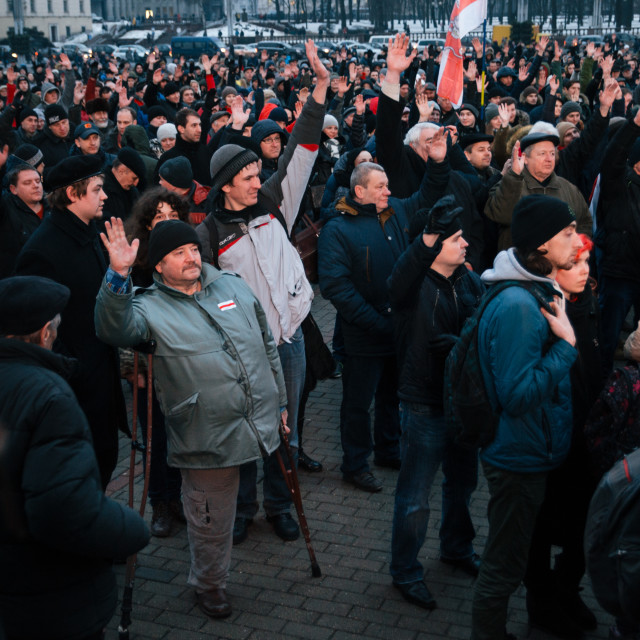"""Belarusian people participate in the protest against the decree ?3 'On prevention of social parasitism' of President Lukashenko in the center of Minsk"" stock image"