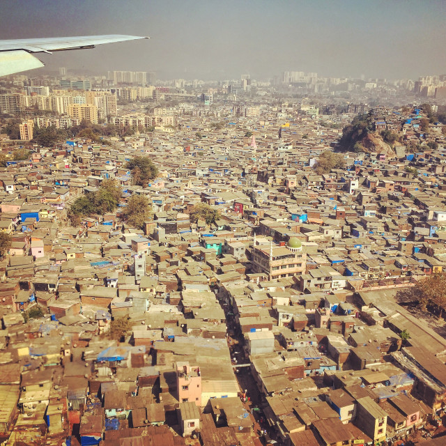 """Mumbai slums from the air"" stock image"