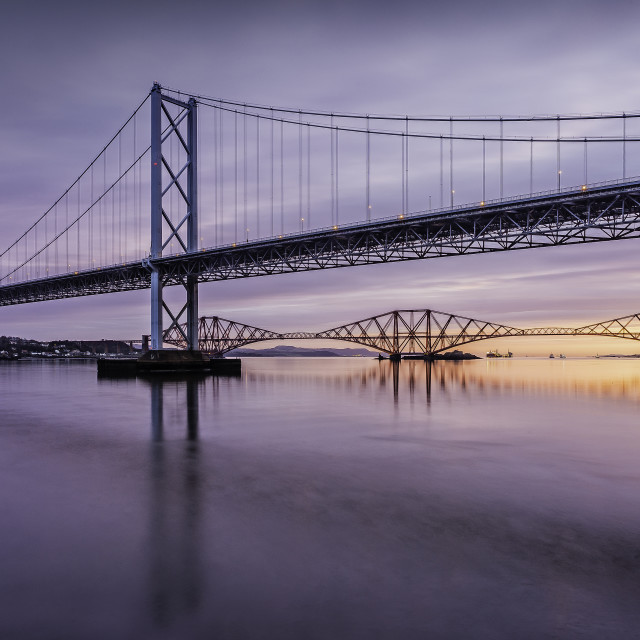 """Forth road and rail Bridge at Sunrise"" stock image"