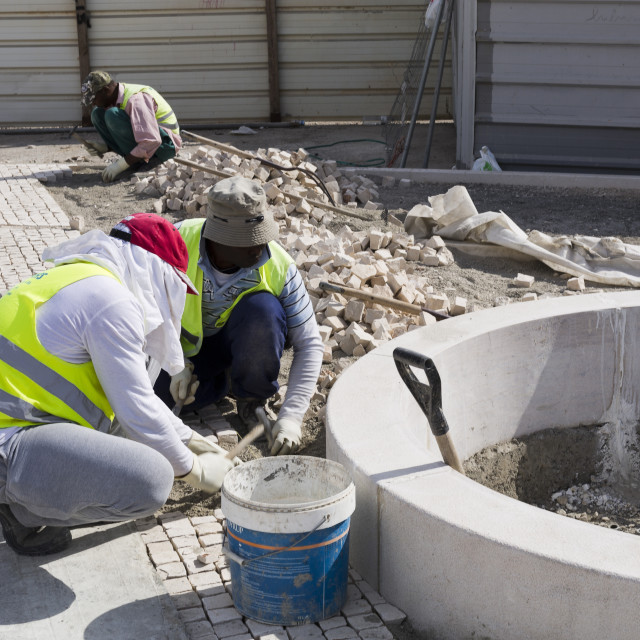 """Pavers at Work"" stock image"